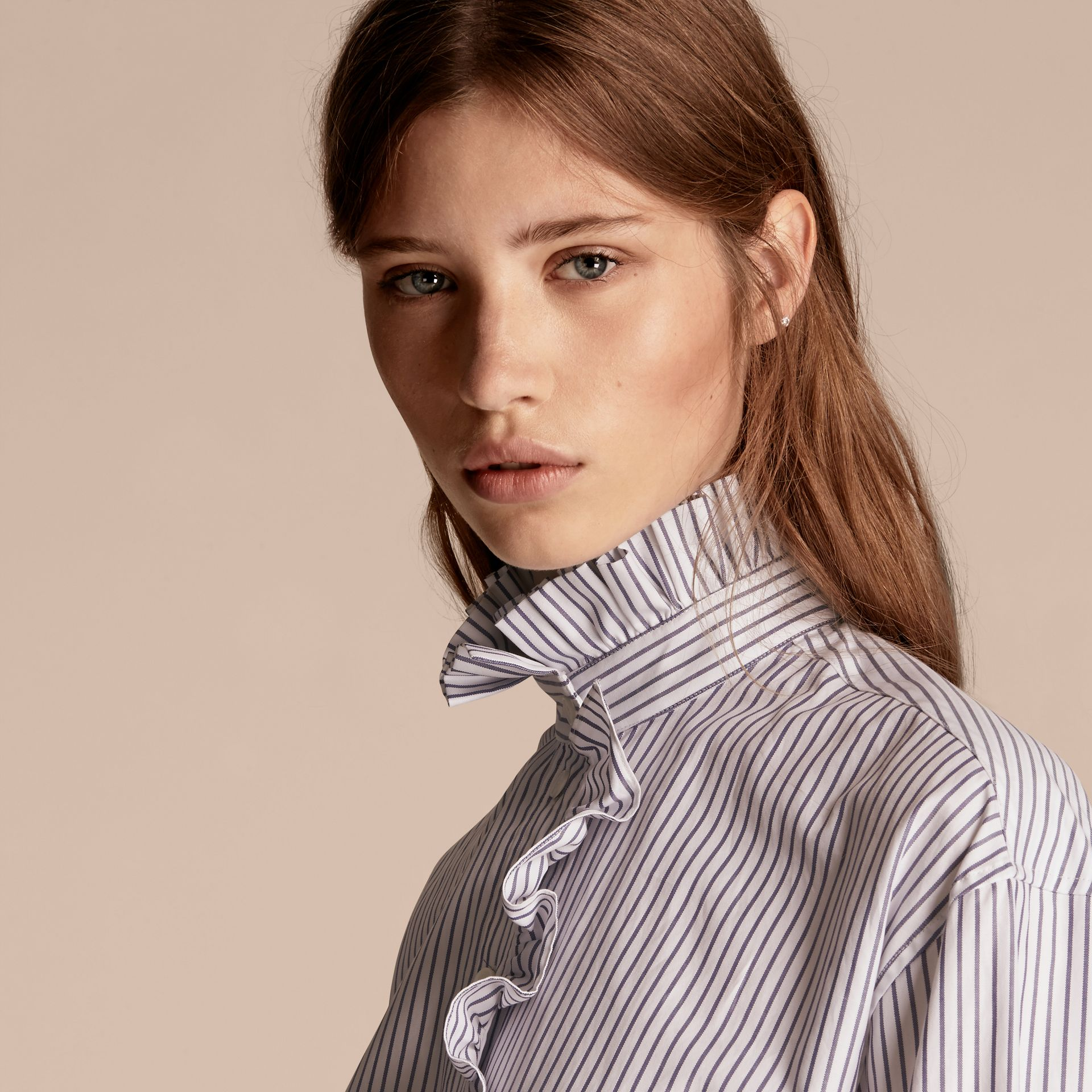 Navy Pinstriped Cotton Shirt with Ruffles - gallery image 5