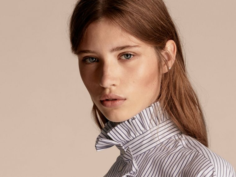 Pinstriped Cotton Shirt with Ruffles - cell image 4