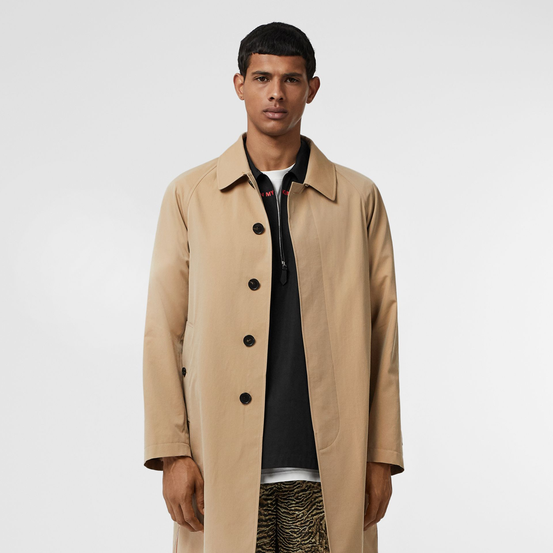 Icon Stripe Detail Tropical Gabardine Car Coat in Honey - Men | Burberry - gallery image 7