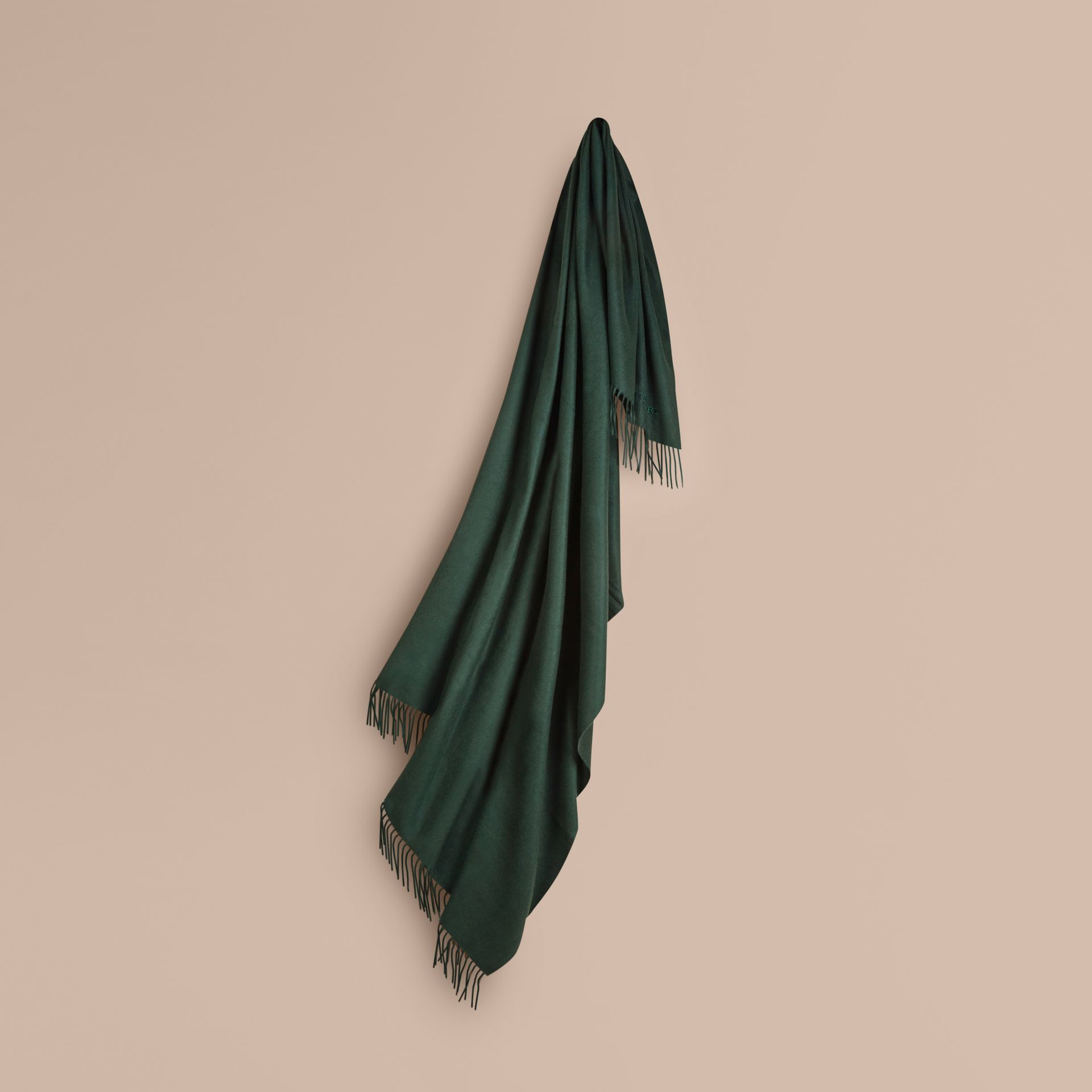 Cashmere Blanket in Dark Forest Green | Burberry - gallery image 1