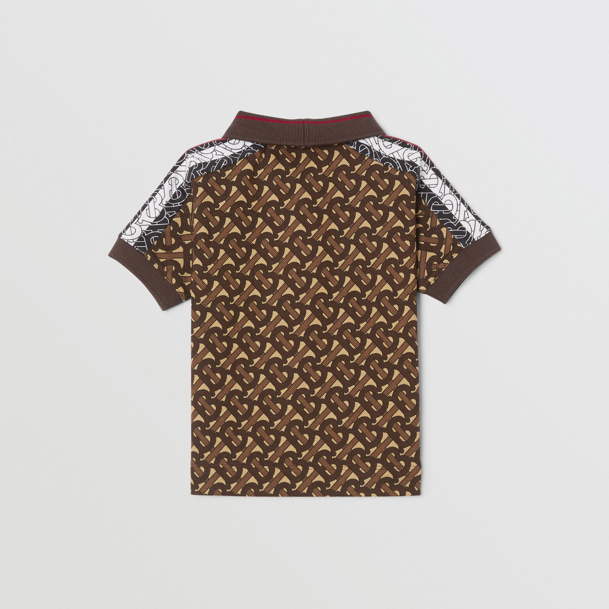 Monogram Stripe Print Cotton Piqué Polo Shirt in Bridle Brown - Children | Burberry - 4