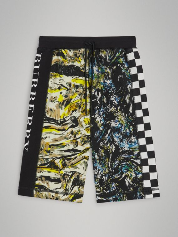 Graphic Print Cotton Drawcord Shorts in Multicolour