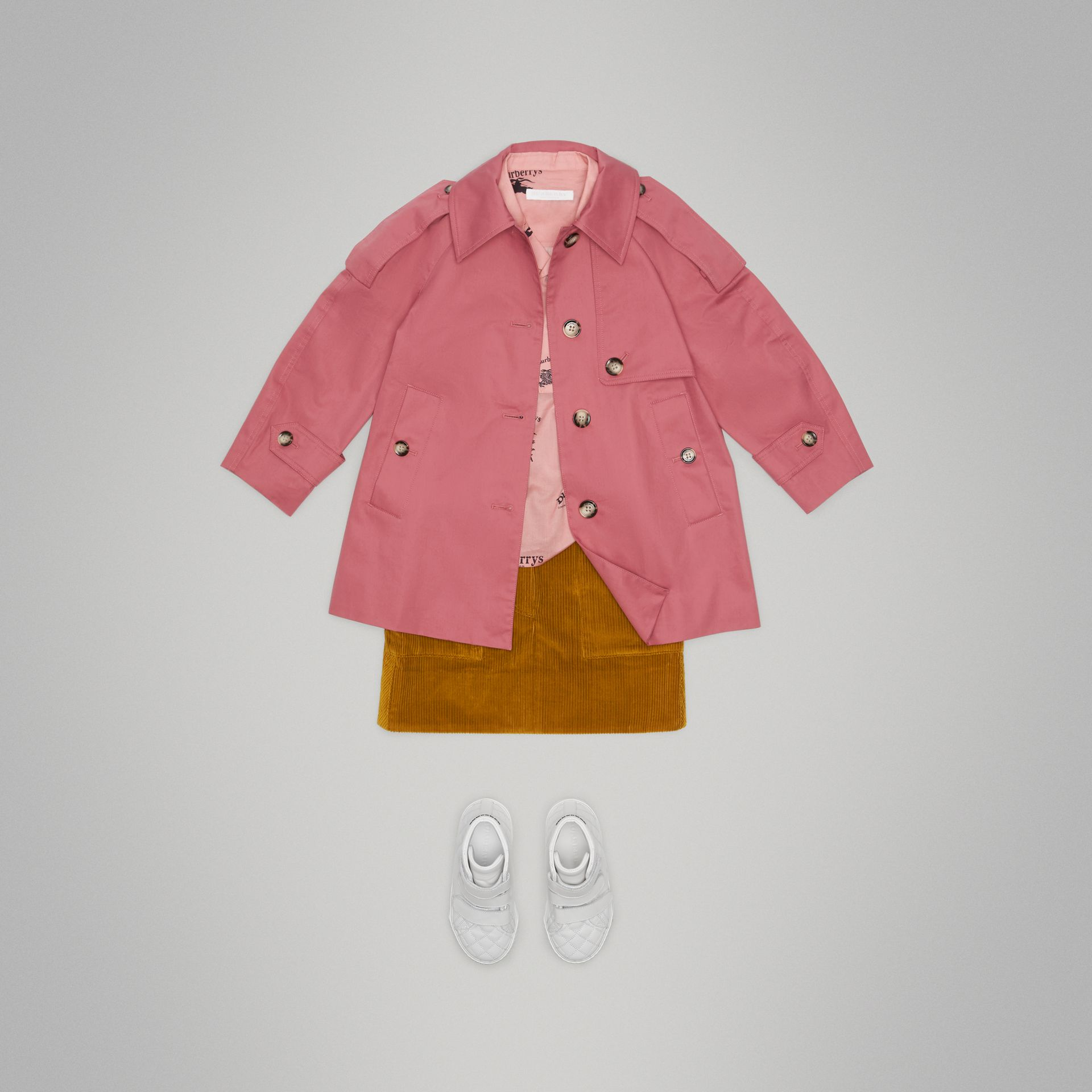 Showerproof Cotton Reconstructed Trench Coat in Rose Pink - Girl | Burberry Australia - gallery image 2