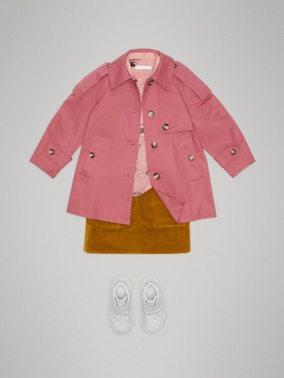 Showerproof Cotton Reconstructed Trench Coat in Rose Pink - Girl | Burberry Australia - cell image 2