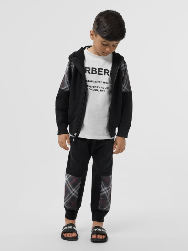 Vintage Check Panel Cotton Hooded Top in Black | Burberry - cell image 2