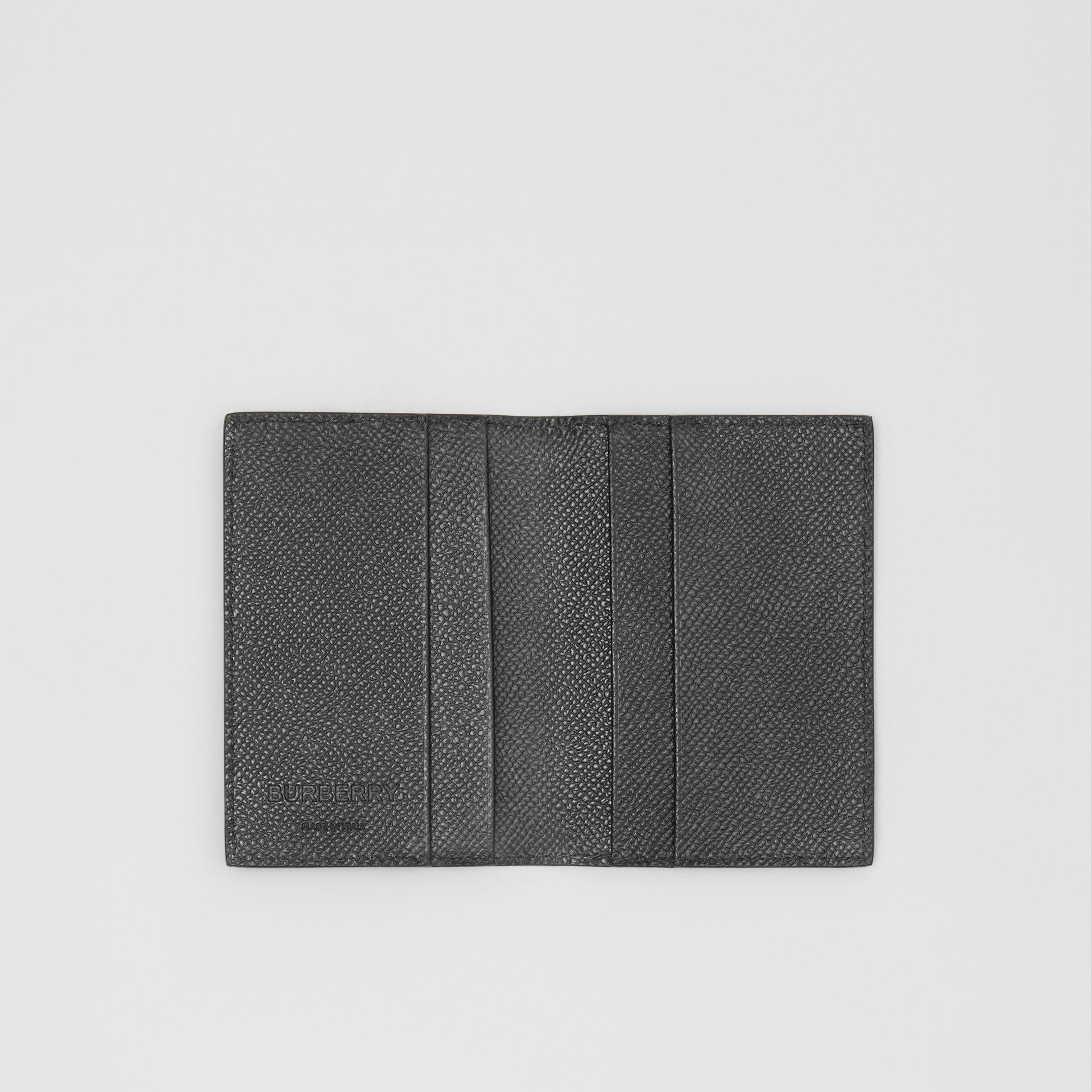 Grainy Leather Bifold Card Case in Black - Men | Burberry - gallery image 2