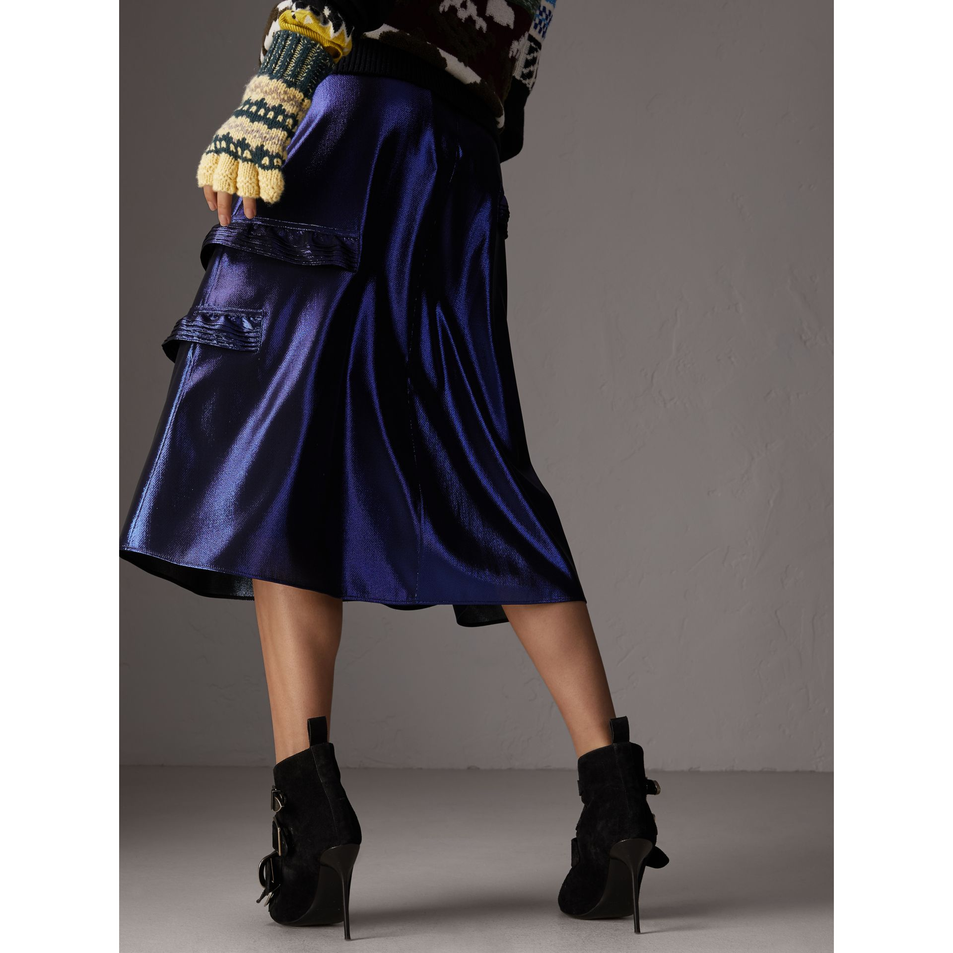 Ruffle Detail Lamé Skirt in Bright Navy - Women | Burberry - gallery image 2