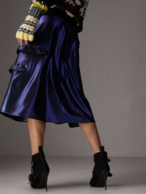 Ruffle Detail Lamé Skirt in Bright Navy - Women | Burberry Canada - cell image 2