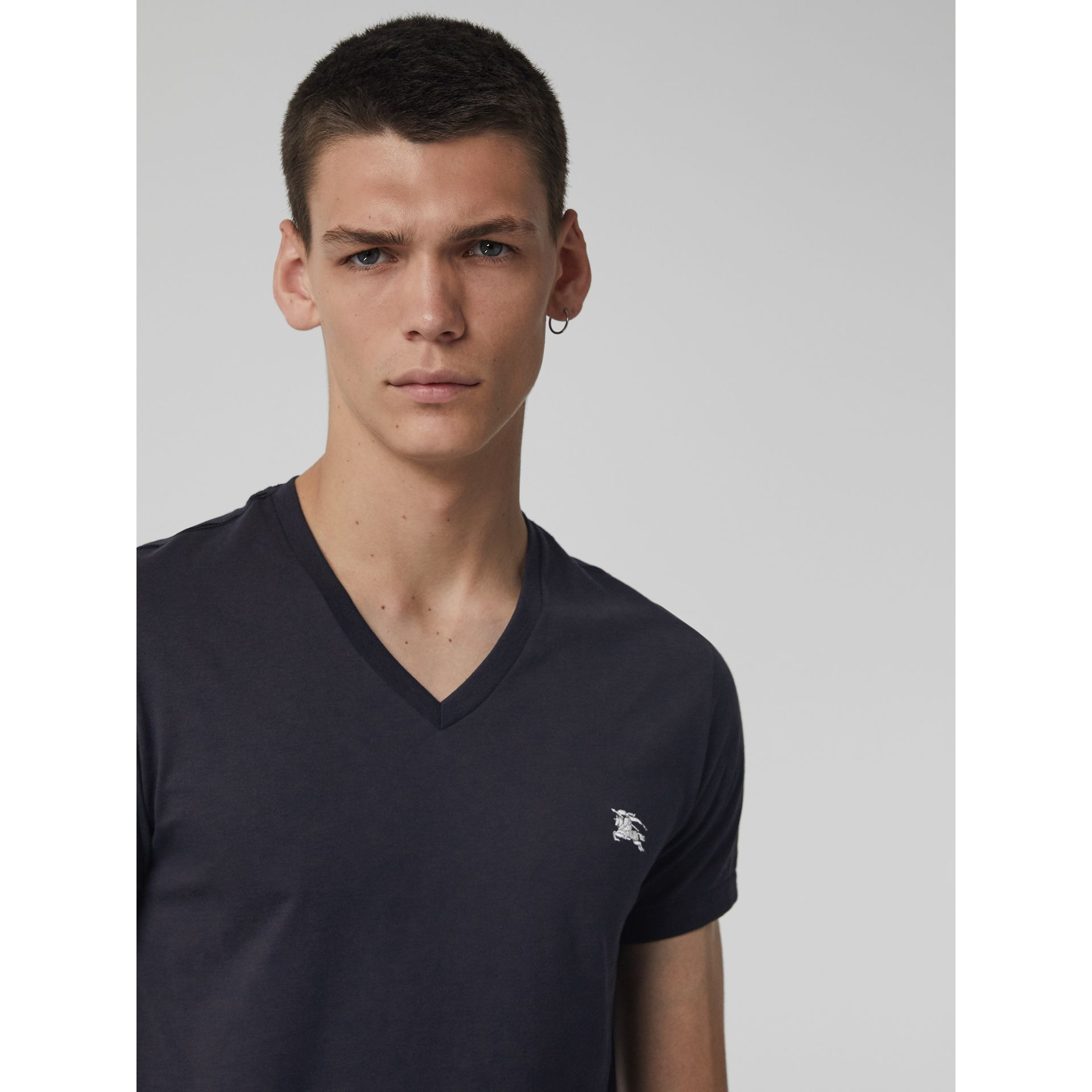 Cotton Jersey V-neck T-shirt in Navy - Men | Burberry - gallery image 1