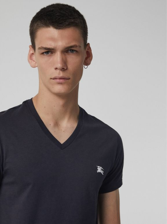 Cotton Jersey V-neck T-shirt in Navy - Men | Burberry - cell image 1