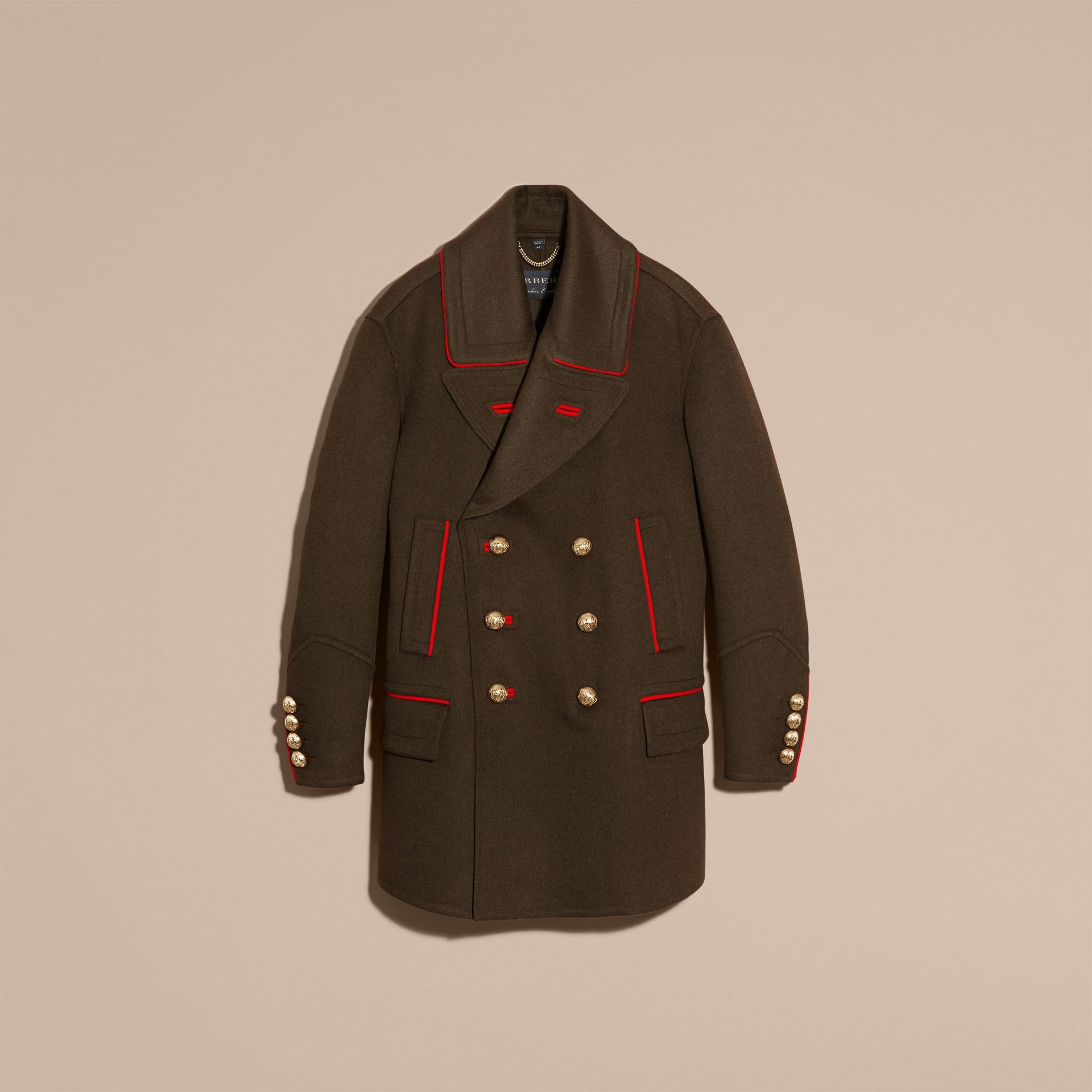 Dark military green Cashmere Wool Military Pea Coat - gallery image 3