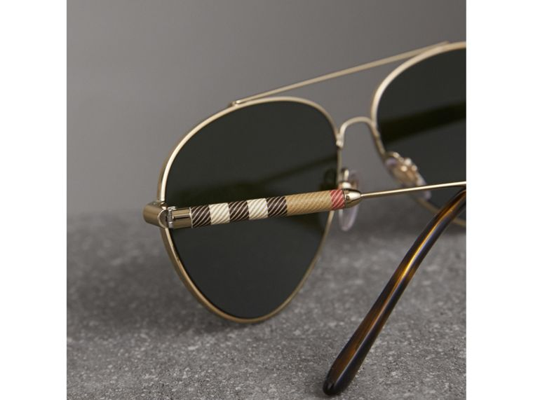 Check Detail Pilot Sunglasses in Nude - Women | Burberry - cell image 1