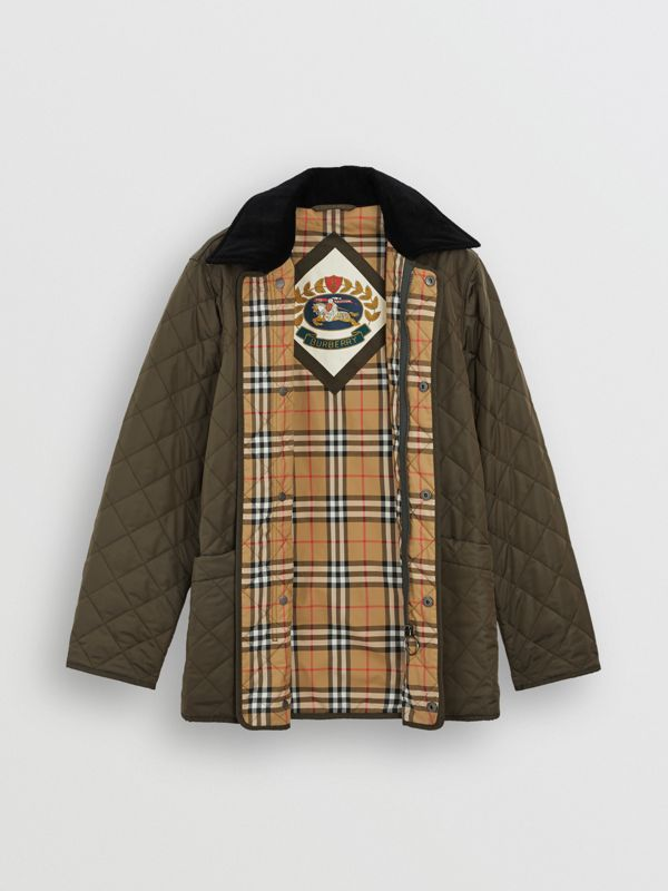 Diamond Quilted Thermoregulated Barn Jacket in Dark Olive - Men | Burberry Canada - cell image 3