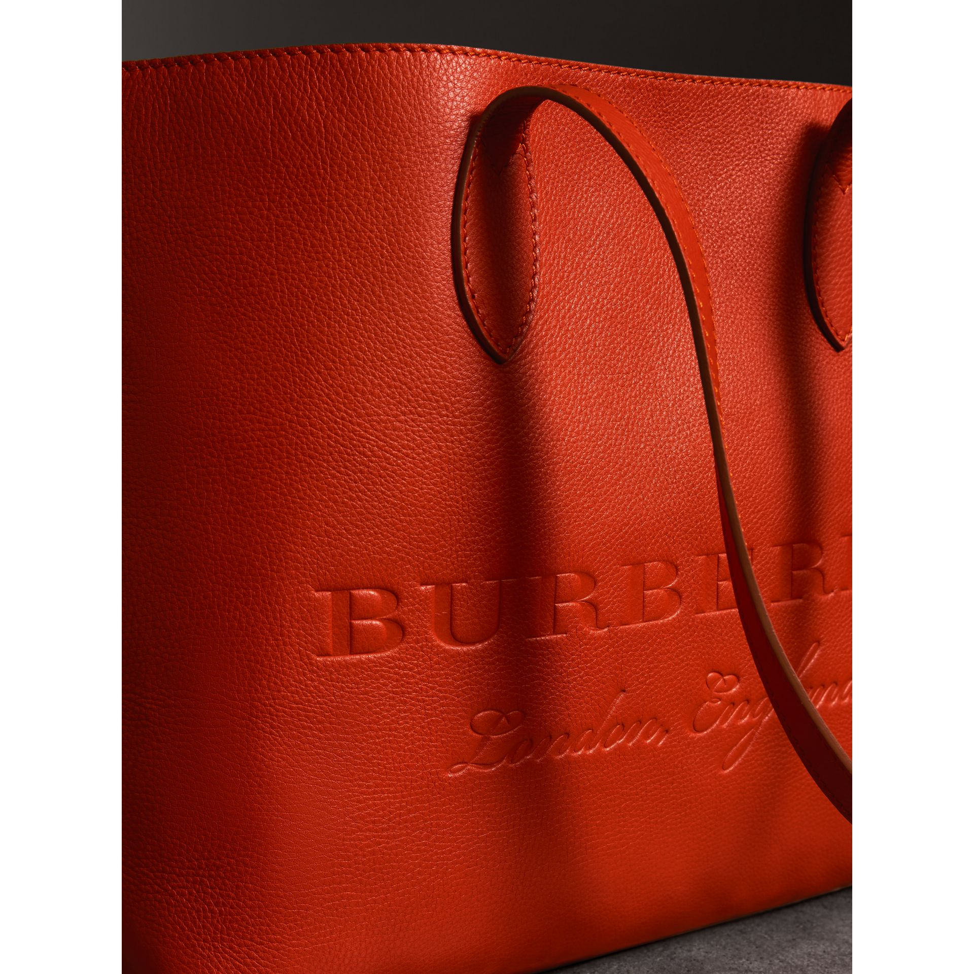 Embossed Leather Tote in Dark Clementine | Burberry United States - gallery image 1