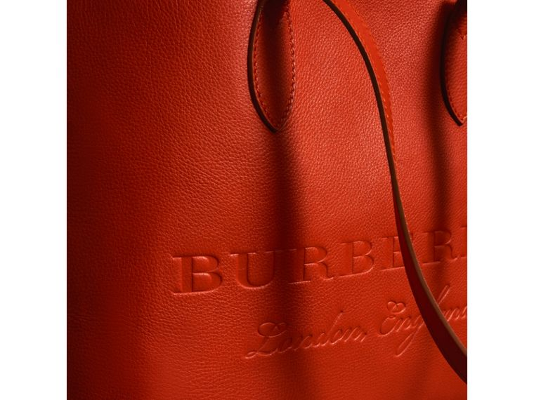 Embossed Leather Tote in Dark Clementine | Burberry United States - cell image 1