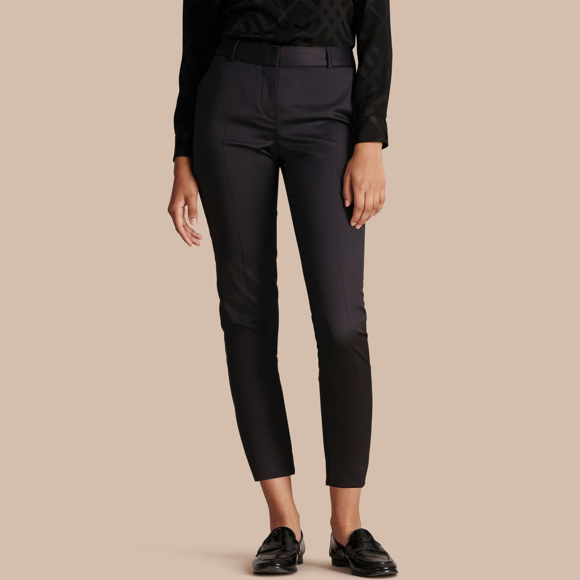 Cropped Stretch Wool Tailored Trousers in Ink - Women | Burberry United Kingdom - gallery image 1
