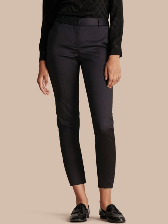 Cropped Stretch Wool Tailored Trousers - Women | Burberry