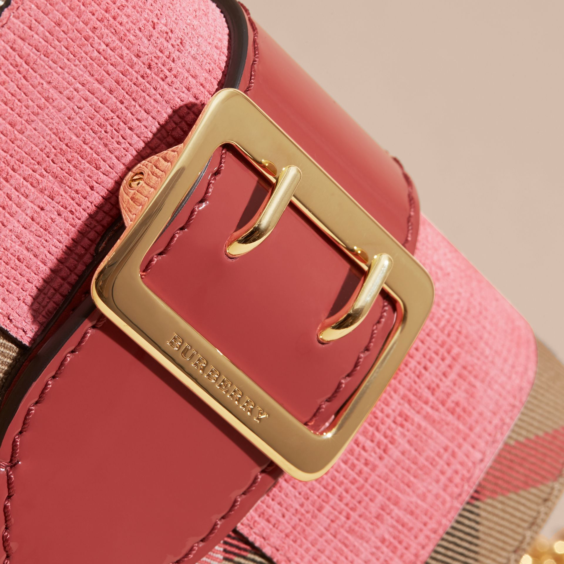 Rose pink The Mini Buckle Bag in Leather and House Check Rose Pink - gallery image 7