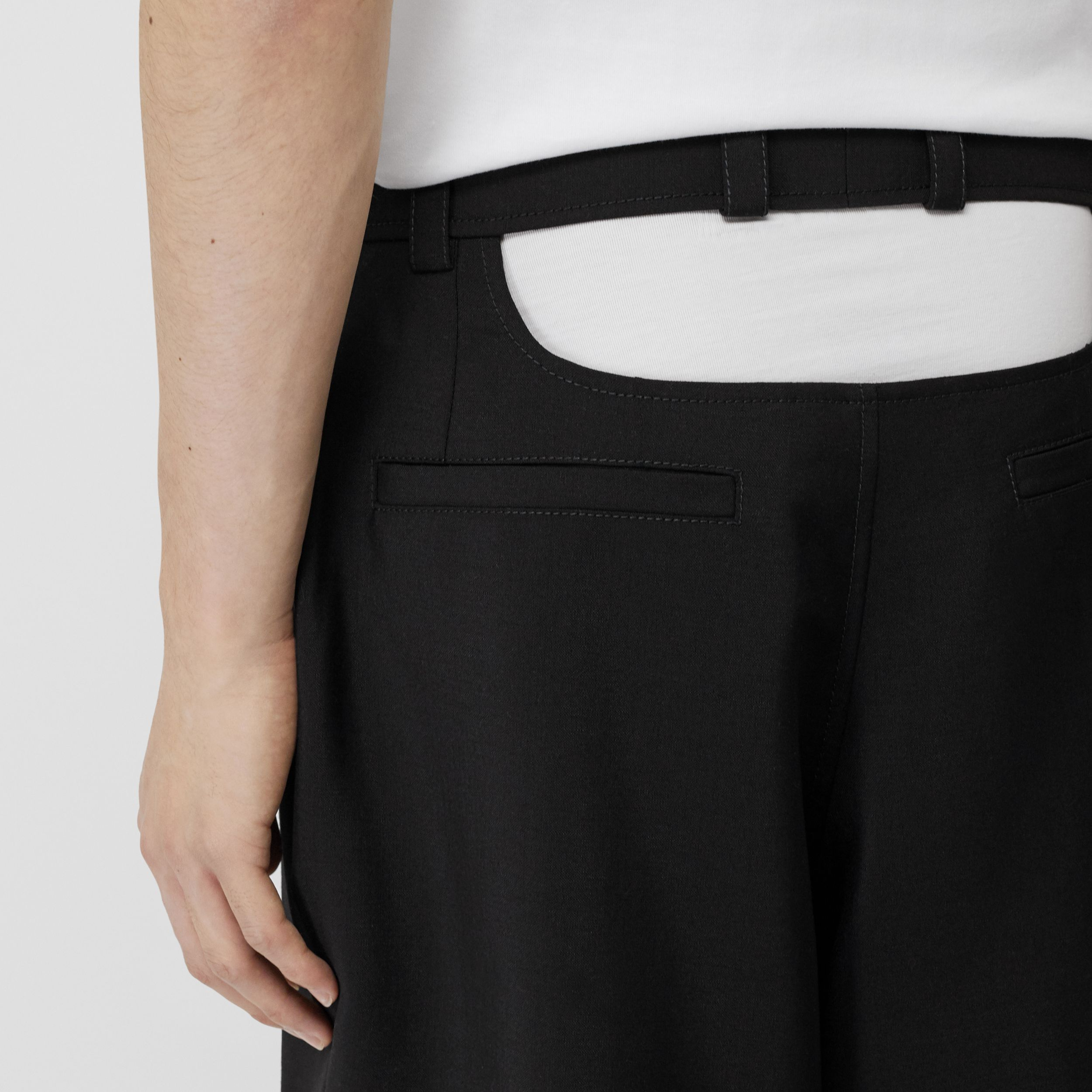 Cut-out Back Mohair Wool Tailored Shorts in Black - Men | Burberry Singapore - 2