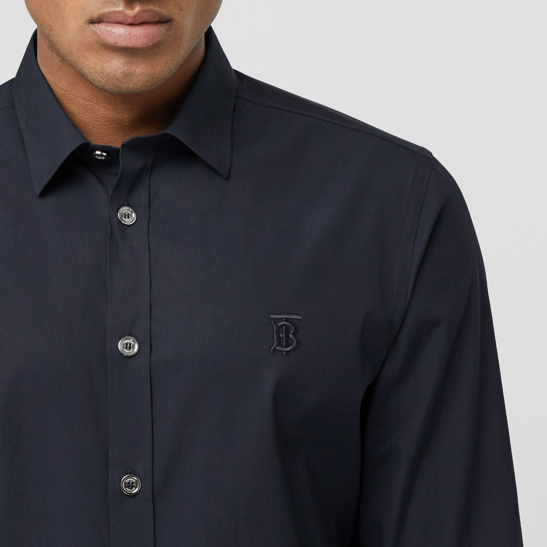 Monogram Motif Stretch Cotton Poplin Shirt in Navy - Men | Burberry Australia - gallery image 1
