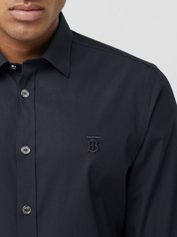 Monogram Motif Stretch Cotton Poplin Shirt in Navy - Men | Burberry Australia - cell image 1