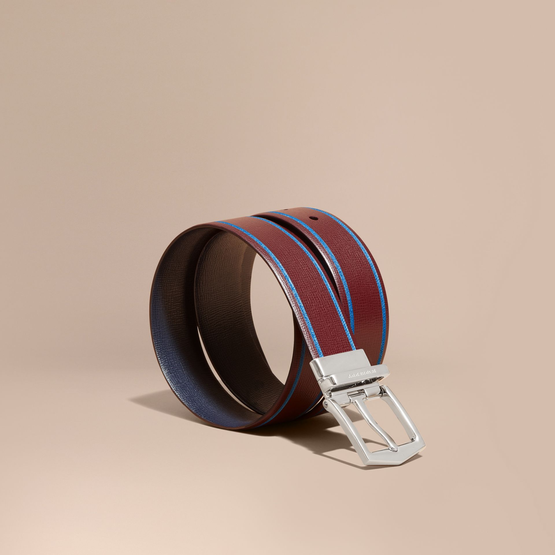 Reversible Border Detail London Leather Belt Burgundy Red/dark Navy - gallery image 1