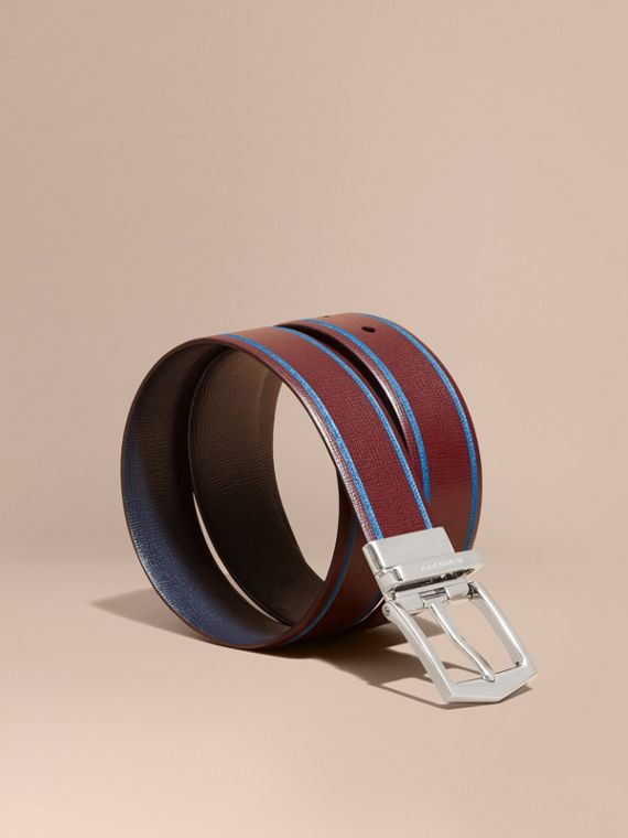 Reversible Border Detail London Leather Belt Burgundy Red/dark Navy