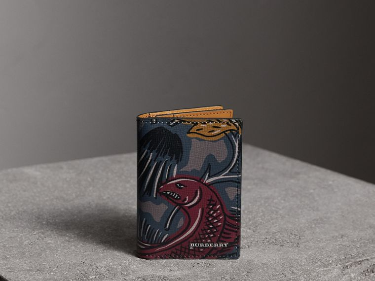 Beasts Print Leather Folding Card Case in Navy Grey - Men | Burberry - cell image 4