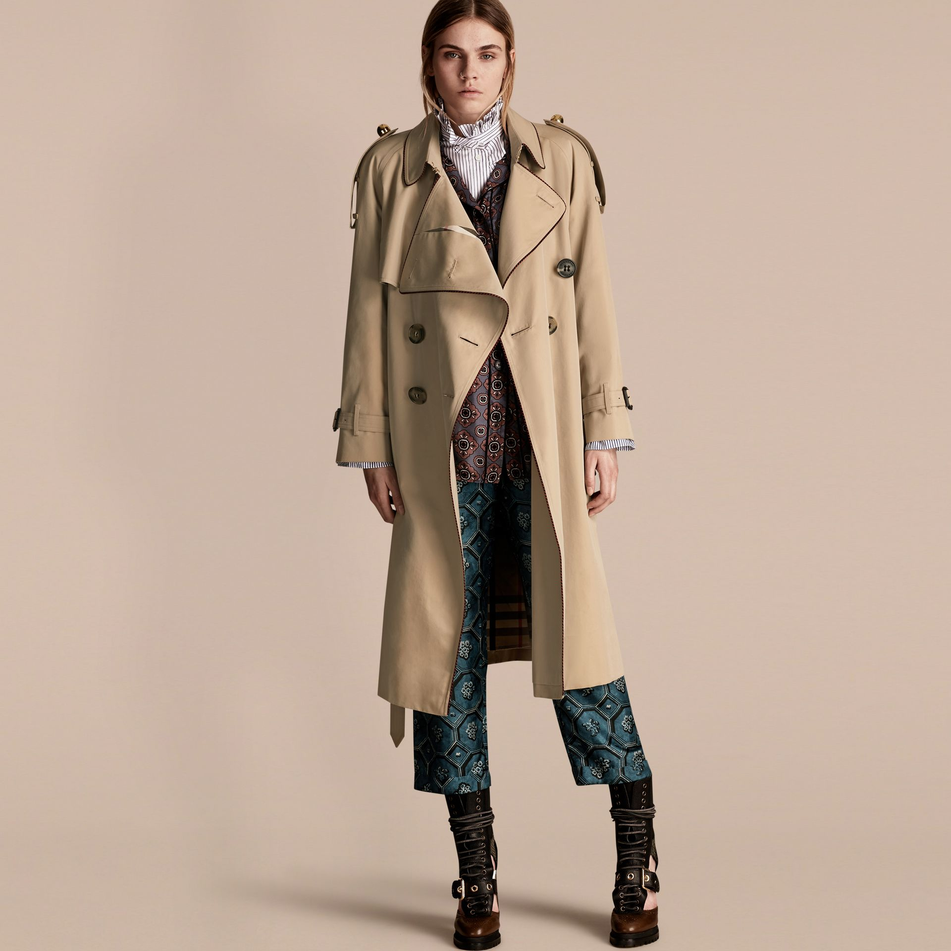 Honey Deconstructed Trench Coat with Regimental Piping - gallery image 1
