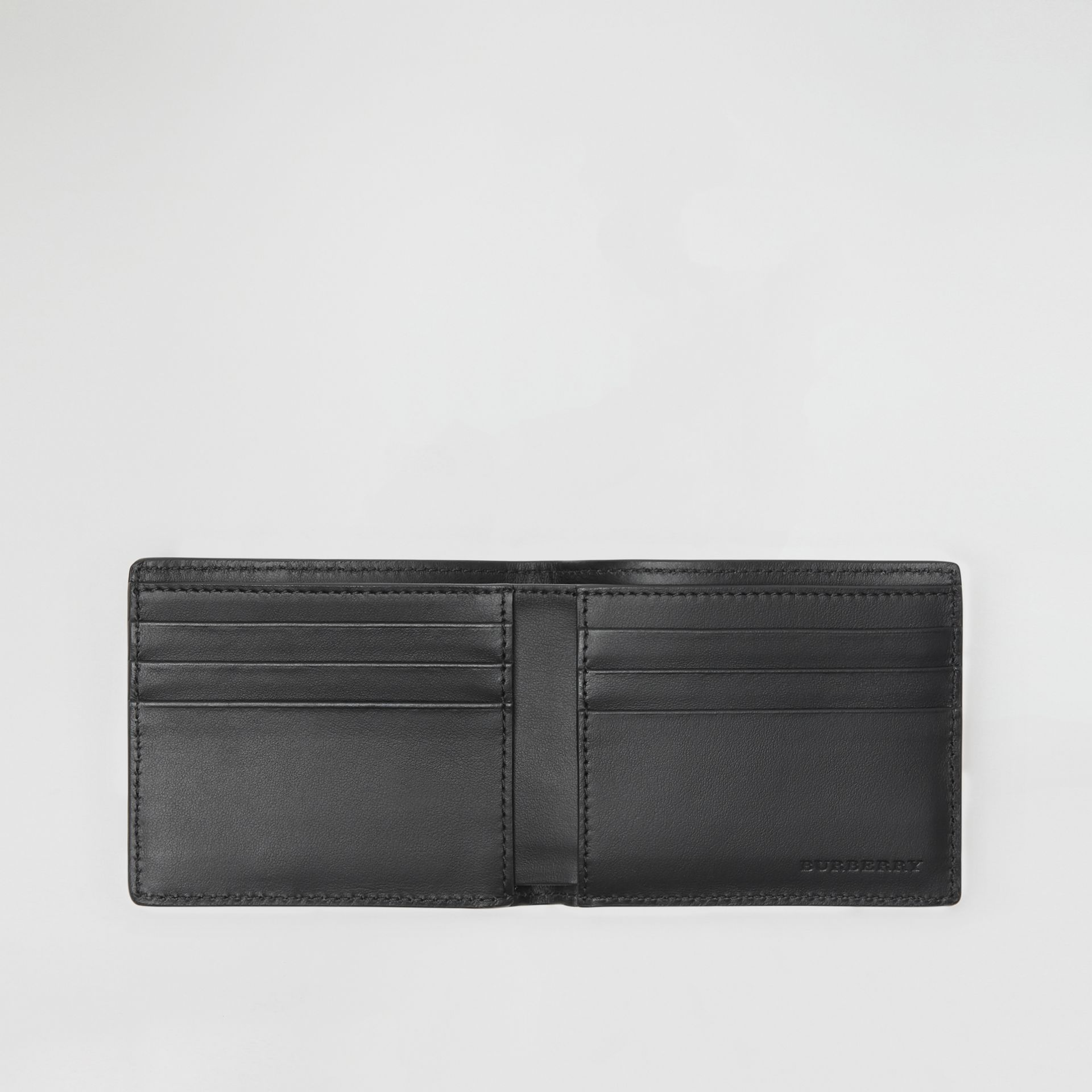 Small Scale Check and Leather Bifold Wallet in Antique Yellow/black - Men | Burberry Singapore - gallery image 3