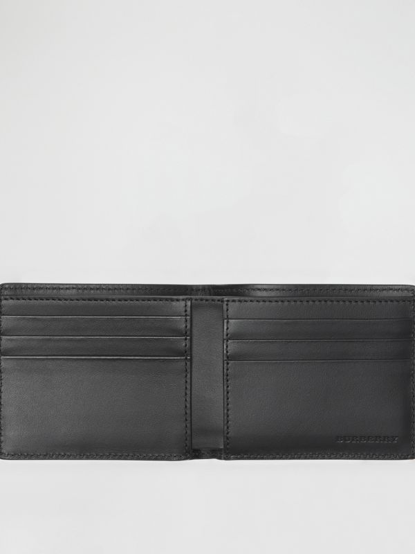 Small Scale Check and Leather Bifold Wallet in Antique Yellow/black - Men | Burberry Singapore - cell image 3
