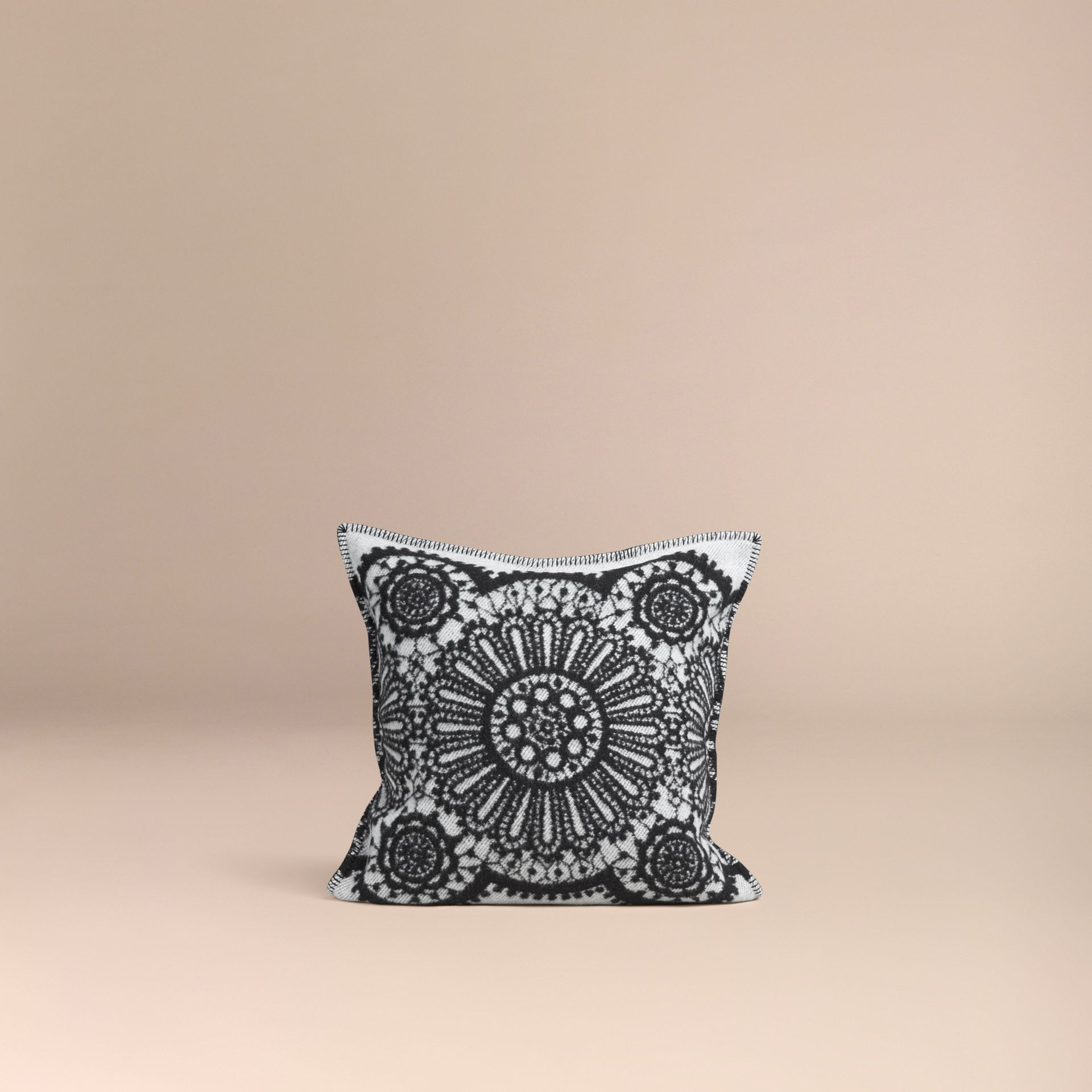 Black Lace Jacquard Wool Cashmere Cushion Cover - gallery image 3