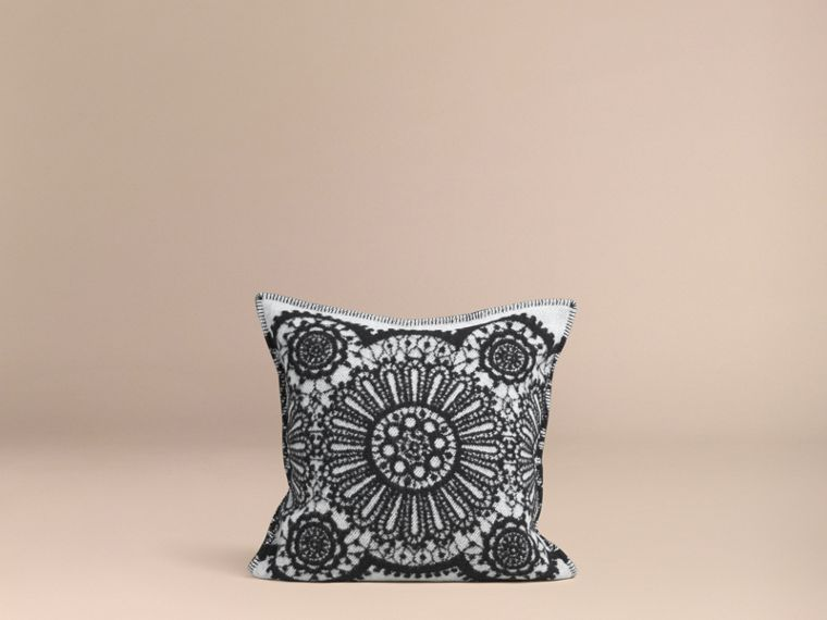 Black Lace Jacquard Wool Cashmere Cushion Cover - cell image 2