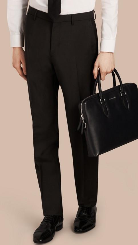 Black Slim Fit Wool Mohair Trousers Black - Image 1