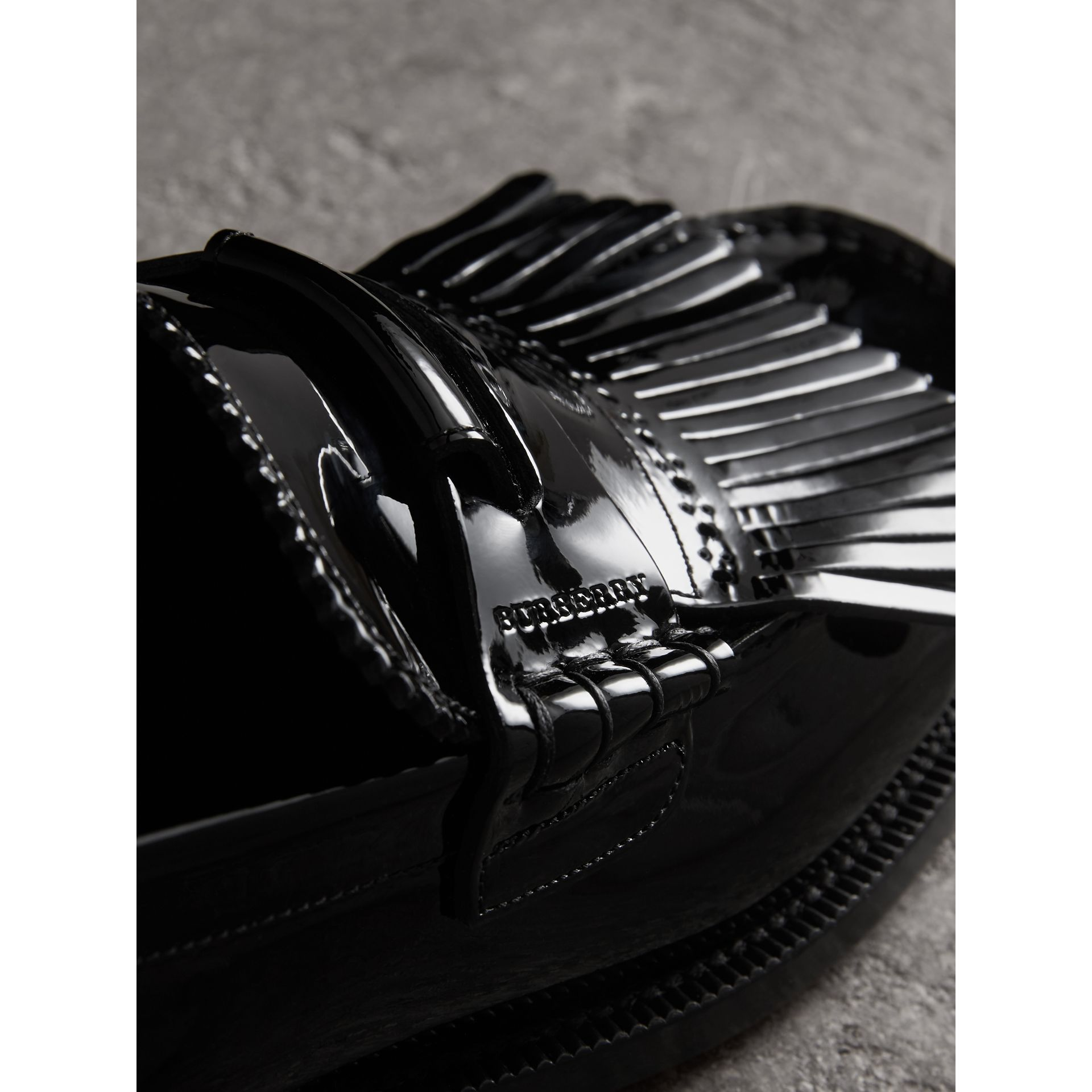 Kiltie Fringe Patent Leather Loafers in Black - Men | Burberry Australia - gallery image 1