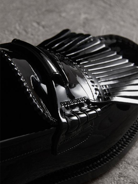 Kiltie Fringe Patent Leather Loafers in Black - Men | Burberry Singapore - cell image 1