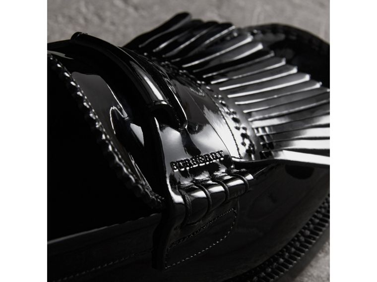 Kiltie Fringe Patent Leather Loafers in Black - Men | Burberry Canada - cell image 1