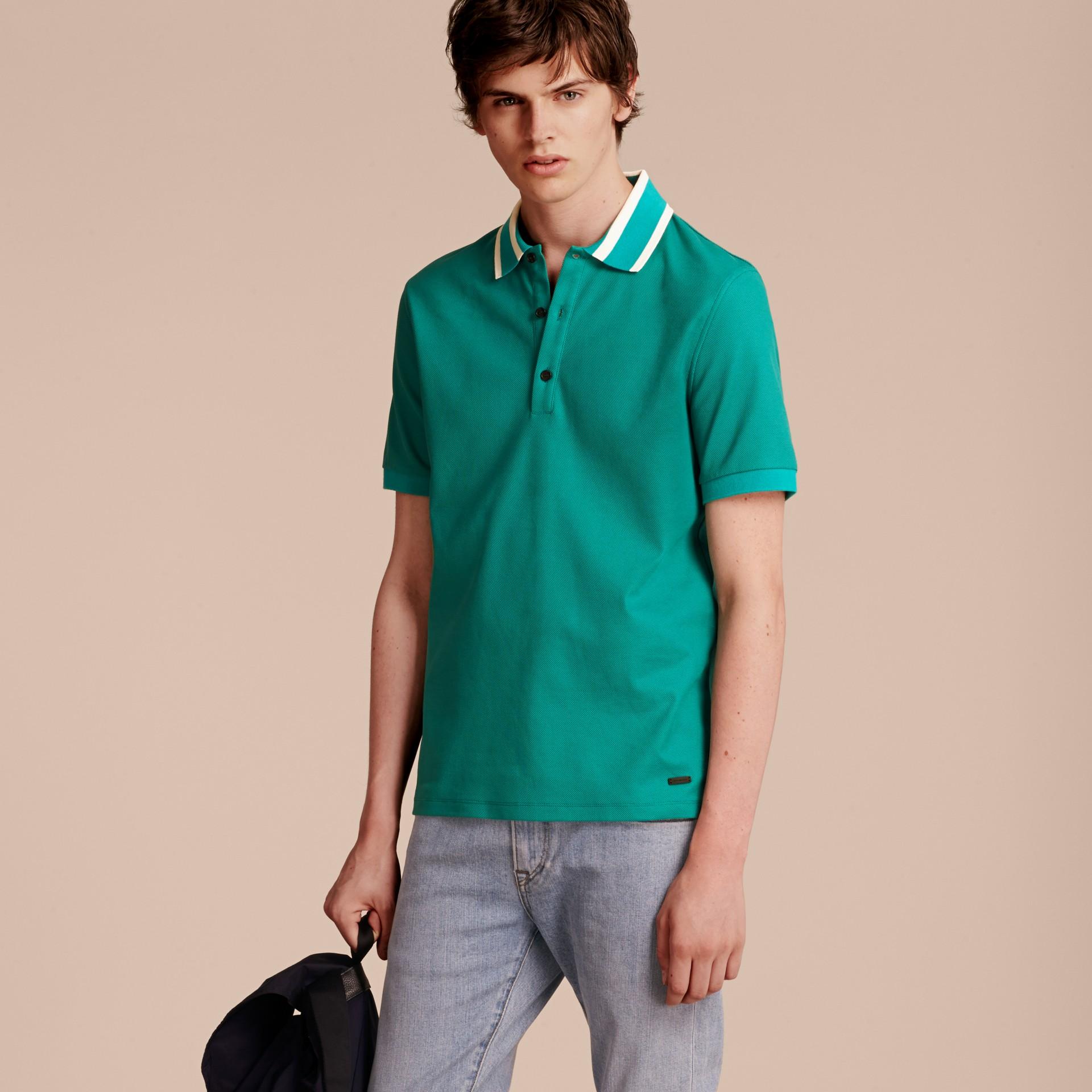 Striped Collar Cotton Piqué Polo Shirt Viridian Green - gallery image 6