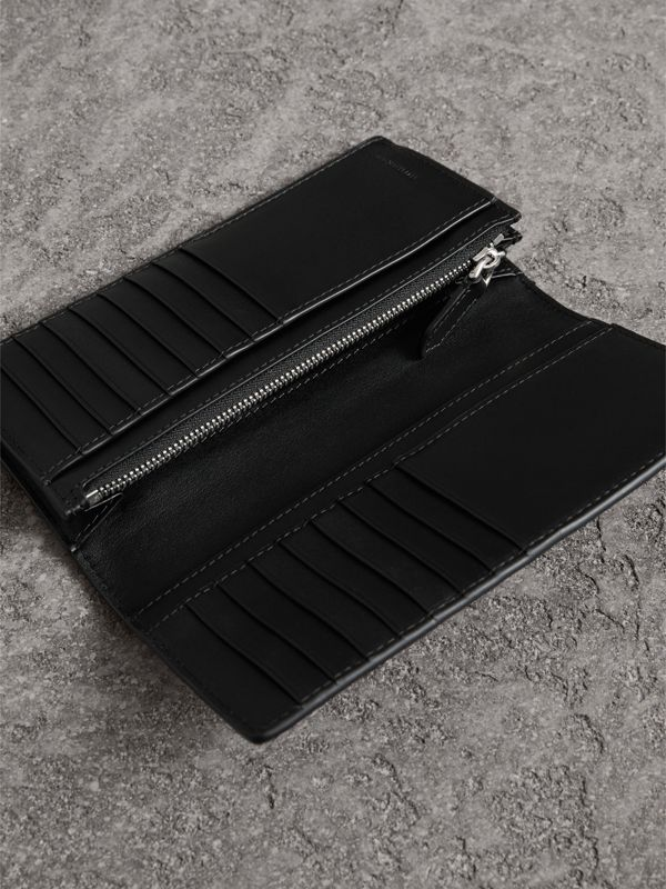 London Check and Leather Continental Wallet in Navy/black - Men | Burberry - cell image 3