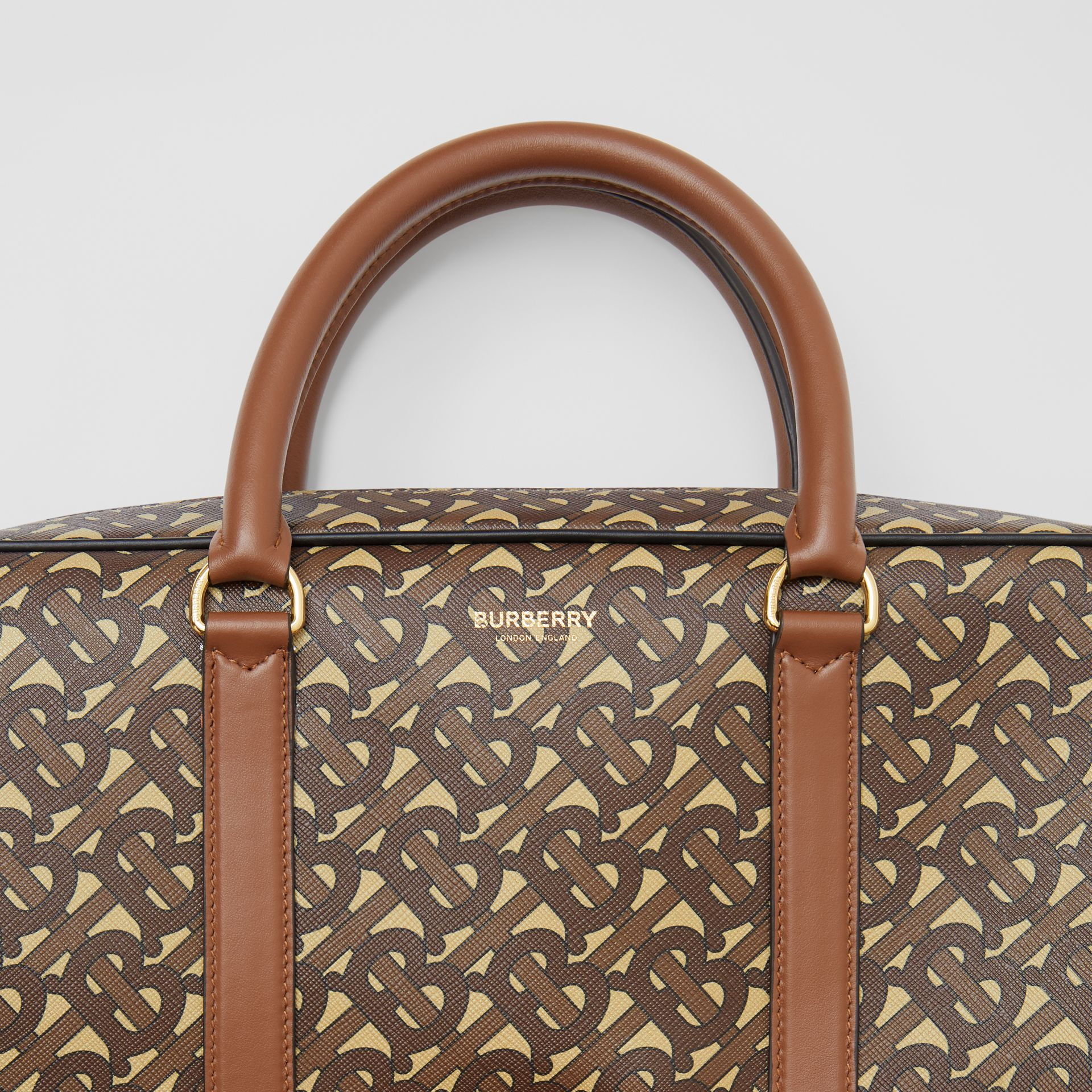 Monogram Print E-canvas and Leather Briefcase in Bridle Brown - Men | Burberry - gallery image 1