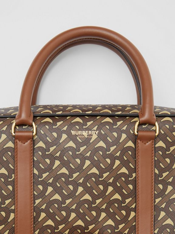 Monogram Print E-canvas and Leather Briefcase in Bridle Brown - Men | Burberry - cell image 1