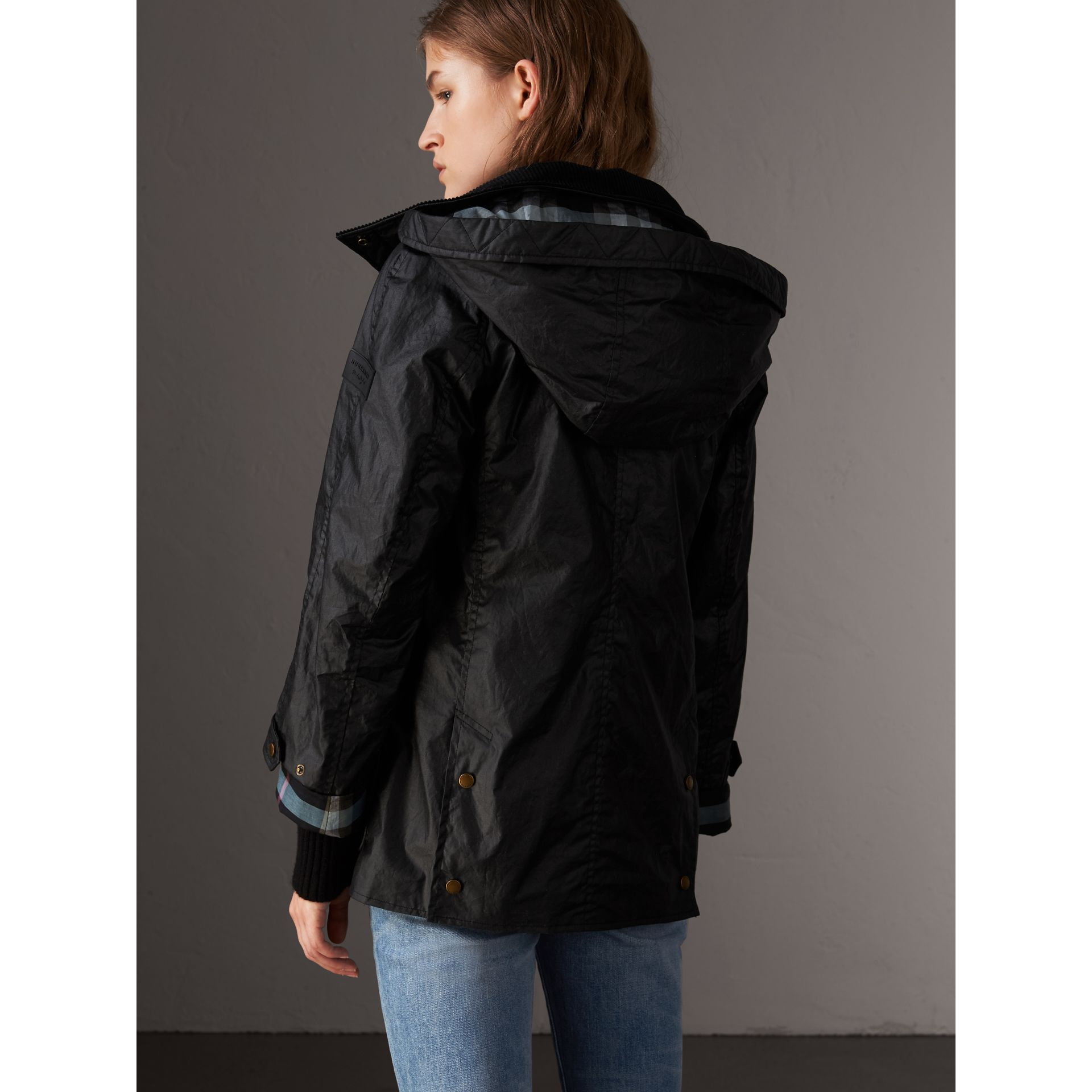 Detachable Hood Waxed Cotton Field Jacket in Black - Women | Burberry United States - gallery image 2