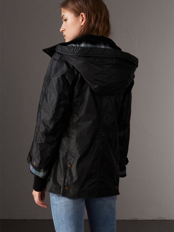 Detachable Hood Waxed Cotton Field Jacket in Black - Women | Burberry United States - cell image 2