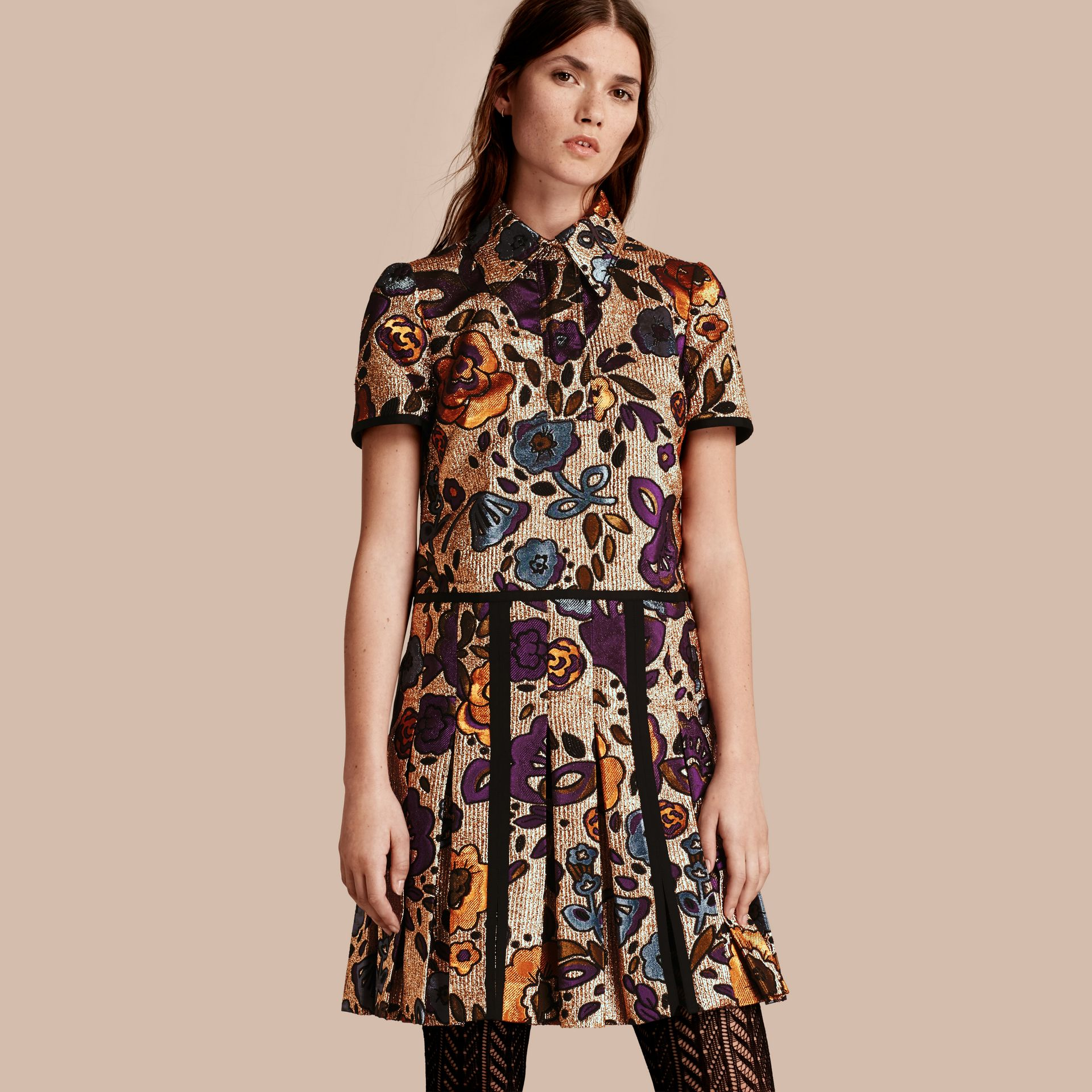 Copper rose Metallic Floral Jacquard Shirt Dress - gallery image 1