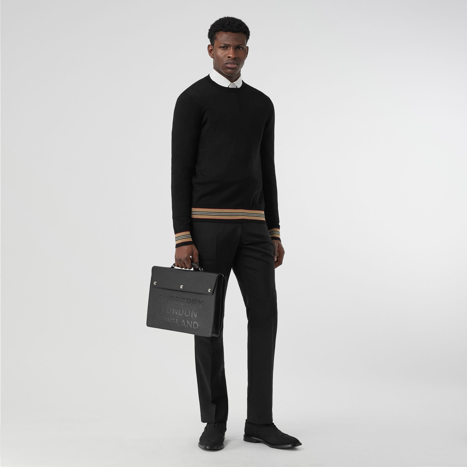 Icon Stripe Detail Merino Wool Sweater in Black - Men | Burberry United Kingdom - gallery image 0