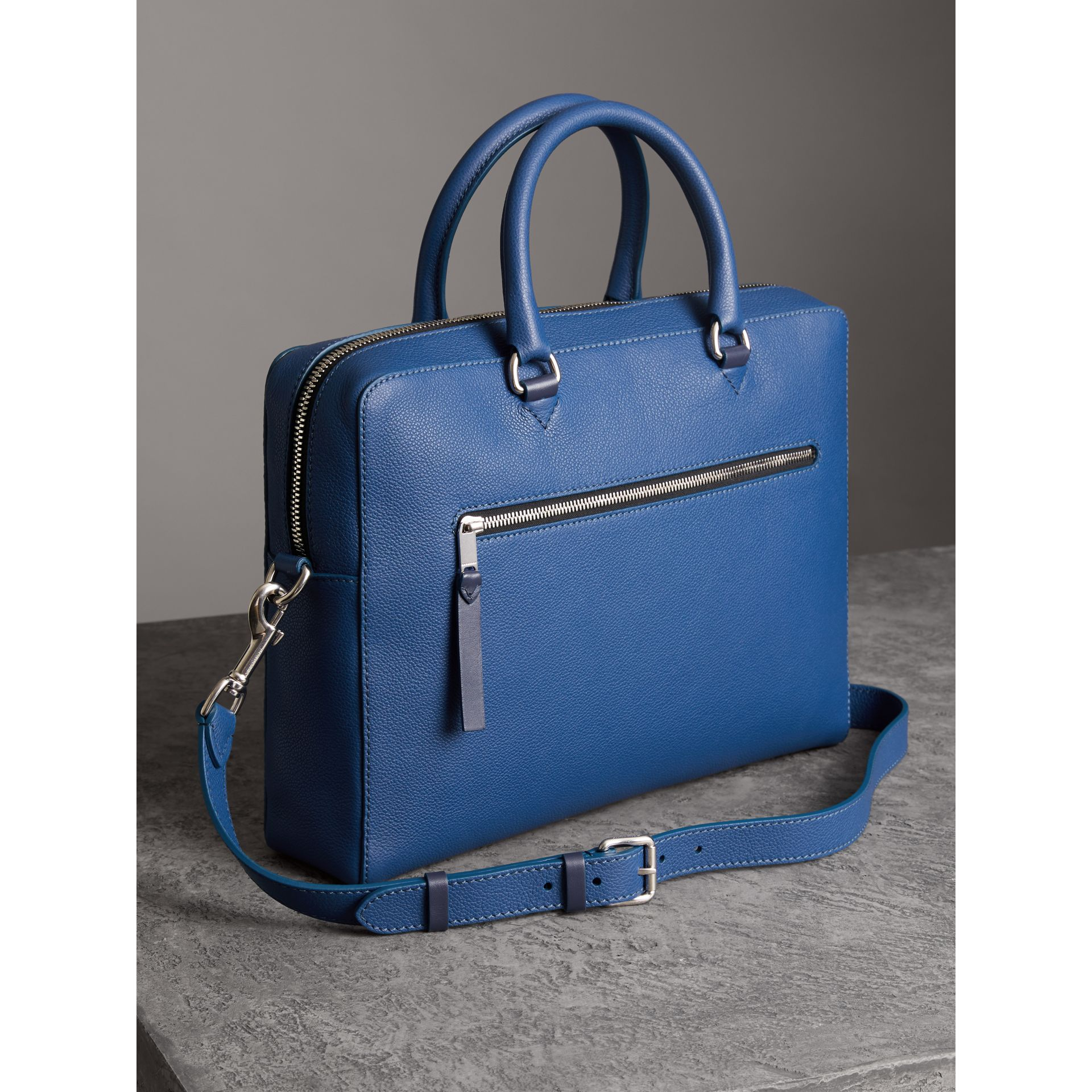 Grainy Leather Briefcase in Bright Ultramarine - Men | Burberry United States - gallery image 4