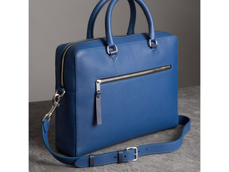 Grainy Leather Briefcase in Bright Ultramarine - Men | Burberry - cell image 4