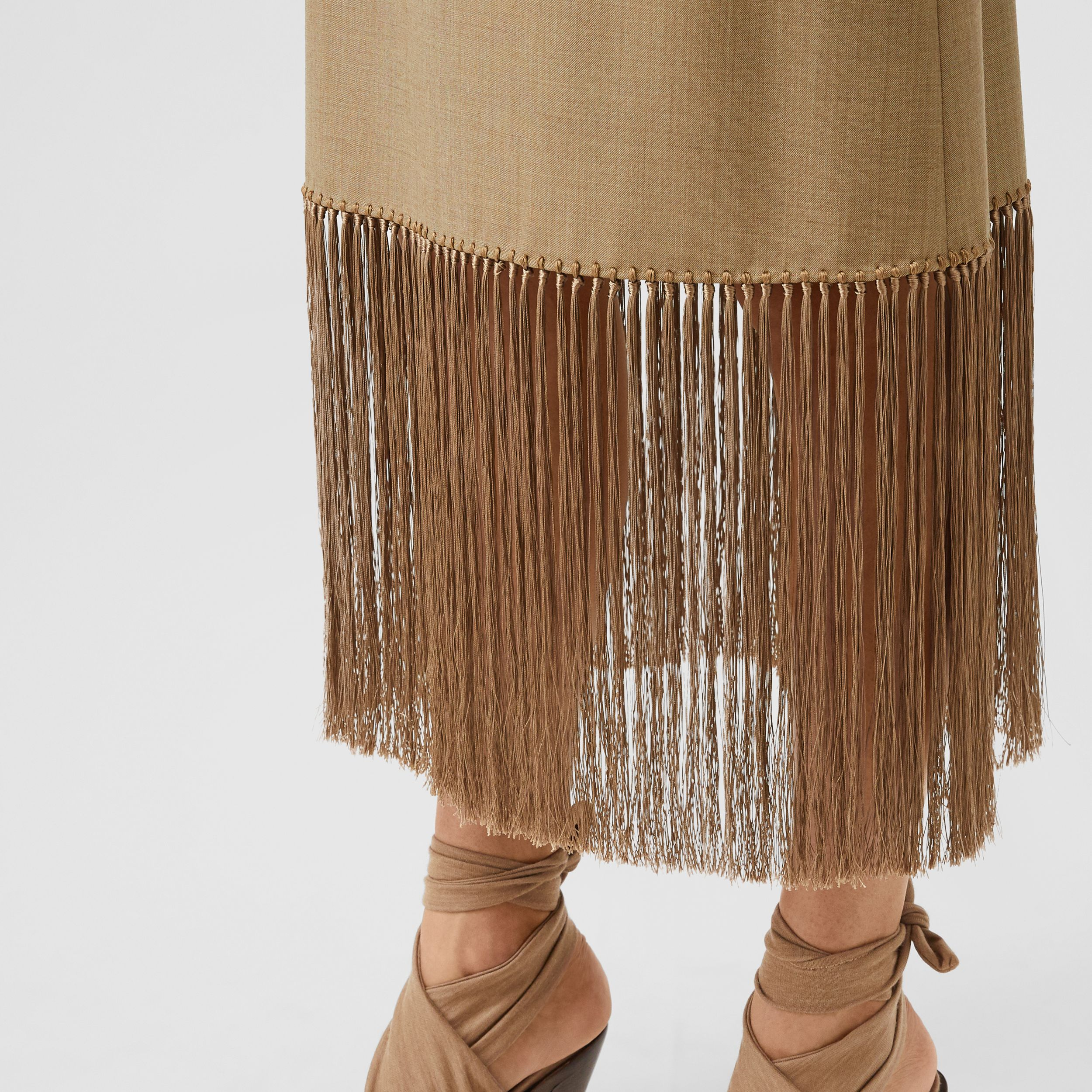 Fringed Wool Cashmere A-line Skirt in Pecan Melange - Women | Burberry - 2