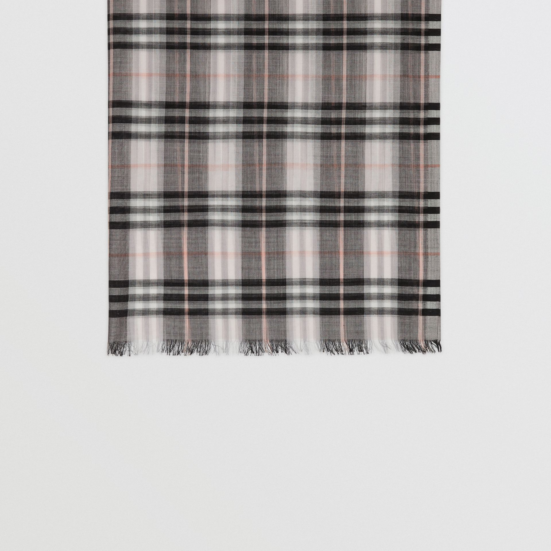 Vintage Check Lightweight Wool Silk Scarf in Apricot | Burberry Australia - gallery image 3