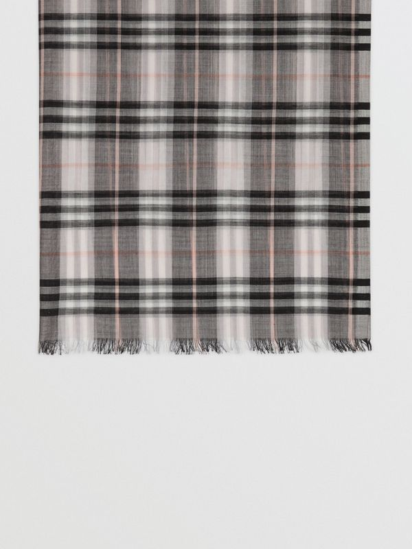 Vintage Check Lightweight Wool Silk Scarf in Apricot | Burberry - cell image 3